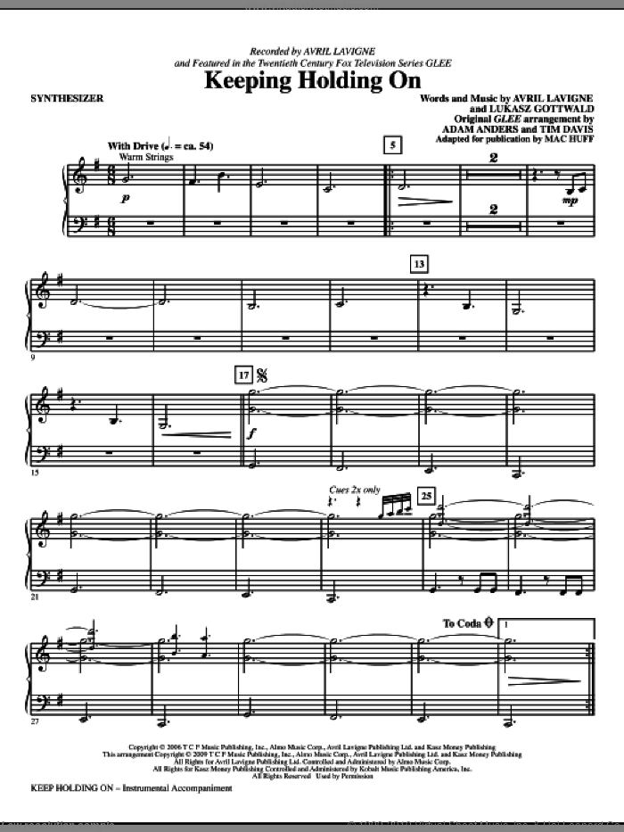 Keep Holding On (complete set of parts) sheet music for orchestra/band (Rhythm) by Avril Lavigne, Lukasz Gottwald, Glee Cast, Mac Huff and Miscellaneous, intermediate skill level