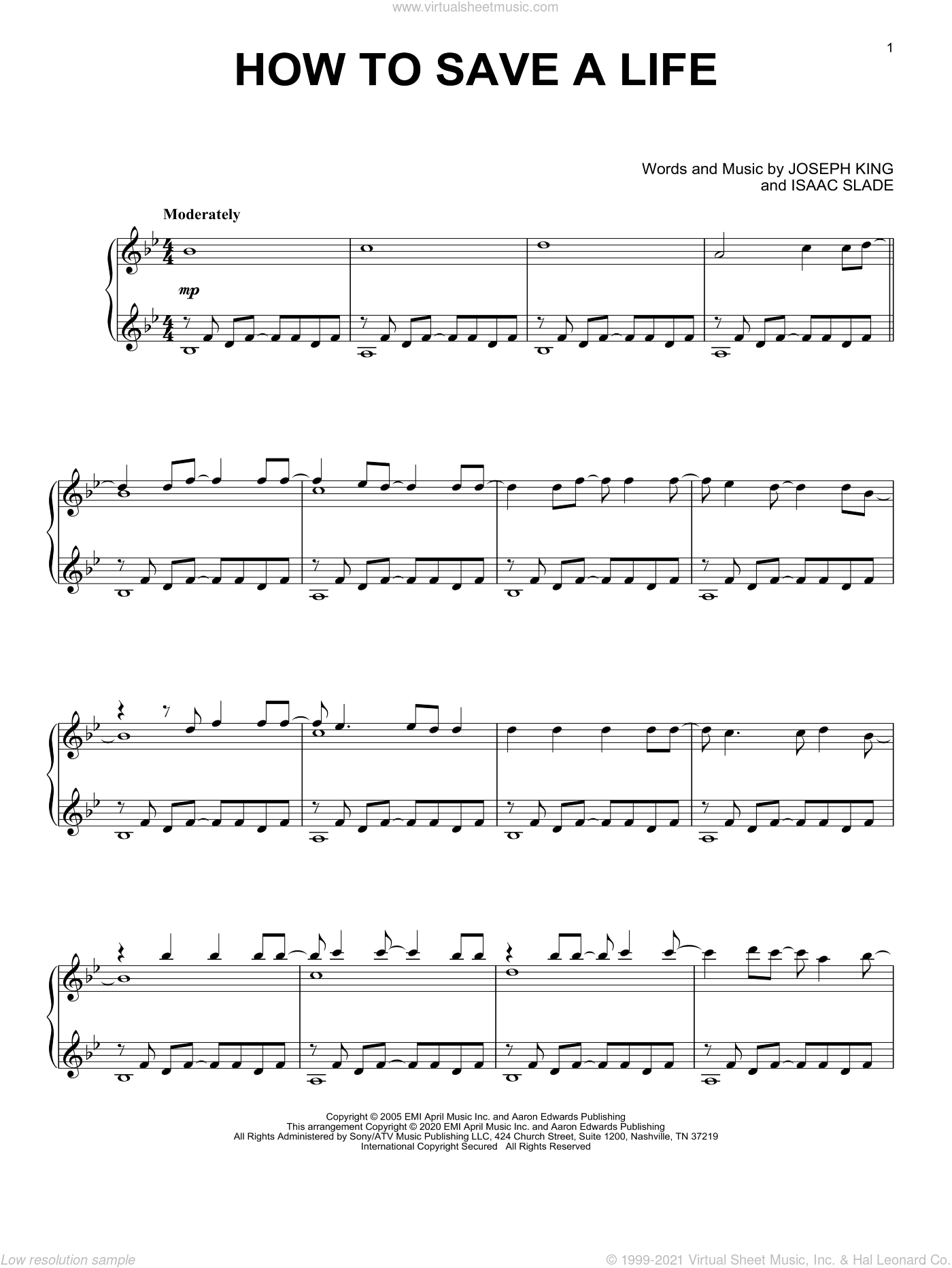 How To Save A Life, (intermediate) sheet music for piano solo by The Fray, Isaac Slade and Joseph King, intermediate skill level