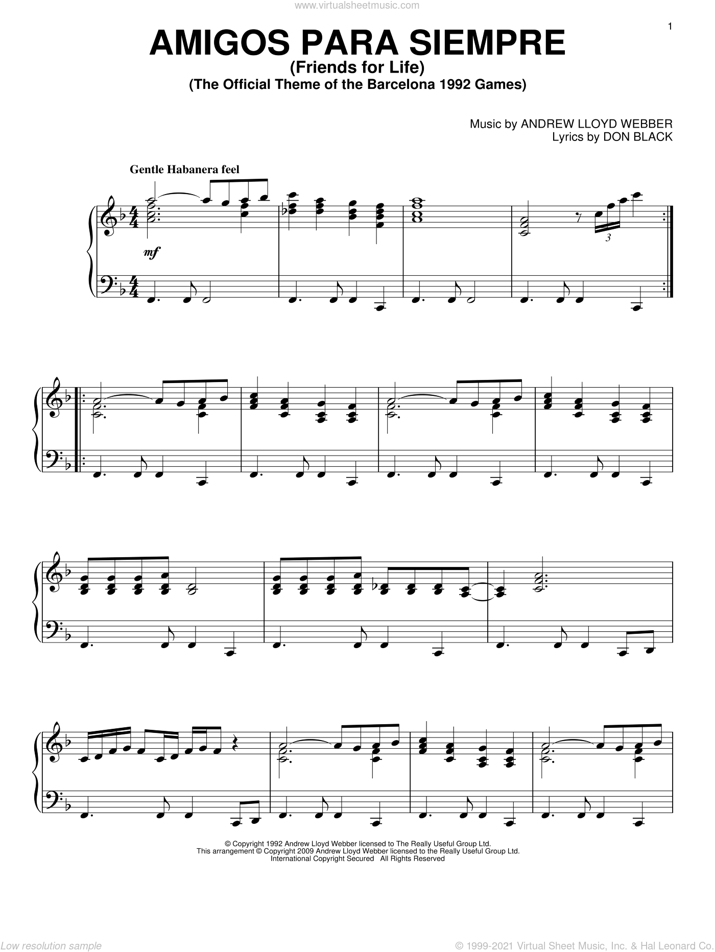 Amigos Para Siempre (Friends For Life) sheet music for piano solo by Don Black and Andrew Lloyd Webber. Score Image Preview.