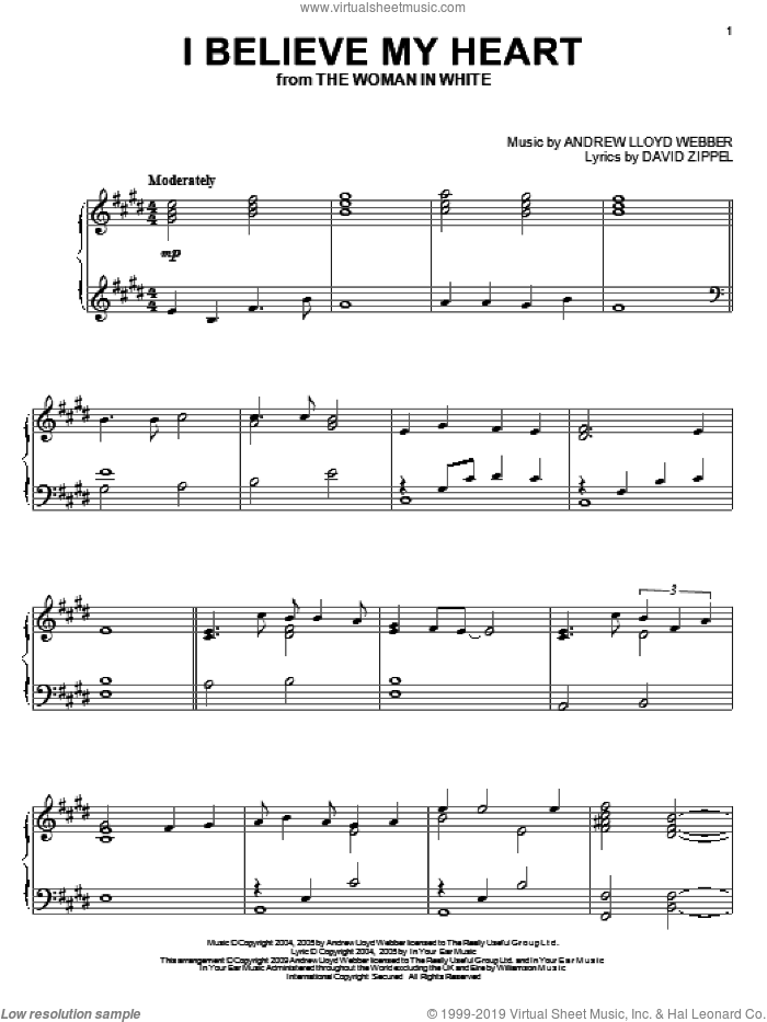 I Believe My Heart sheet music for piano solo by David Zippel and Andrew Lloyd Webber. Score Image Preview.