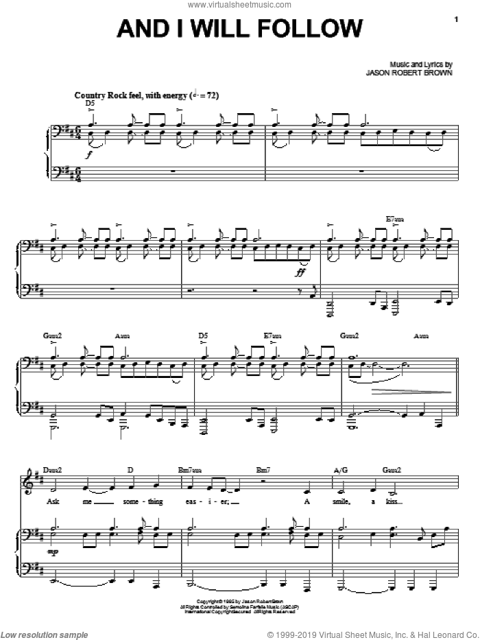 And I Will Follow sheet music for voice and piano by Jason Robert Brown. Score Image Preview.