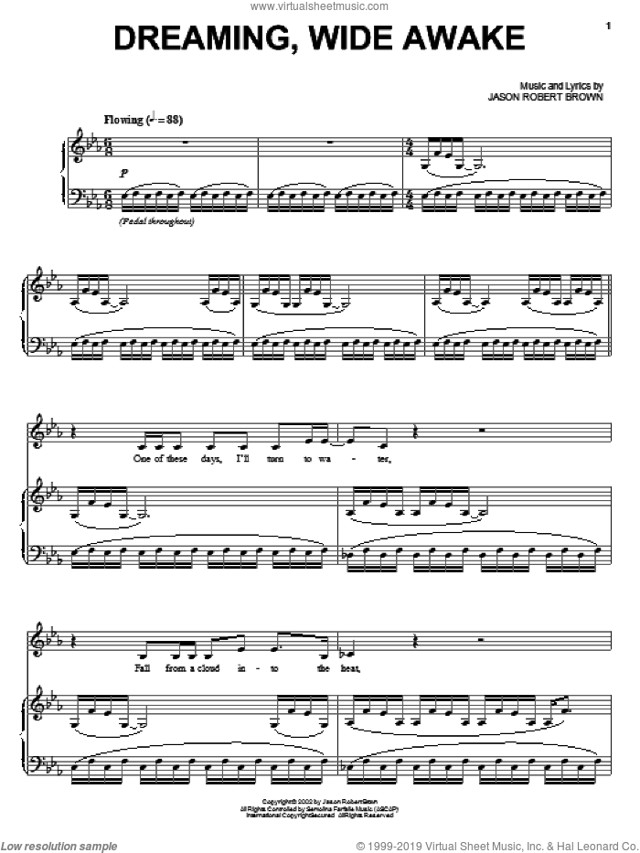 Dreaming, Wide Awake sheet music for voice and piano by Jason Robert Brown and Lauren Kennedy, intermediate. Score Image Preview.