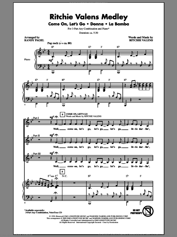 Ritchie Valens Medley sheet music for choir (3-Part Mixed) by Ritchie Valens and Randy Pagel, intermediate skill level