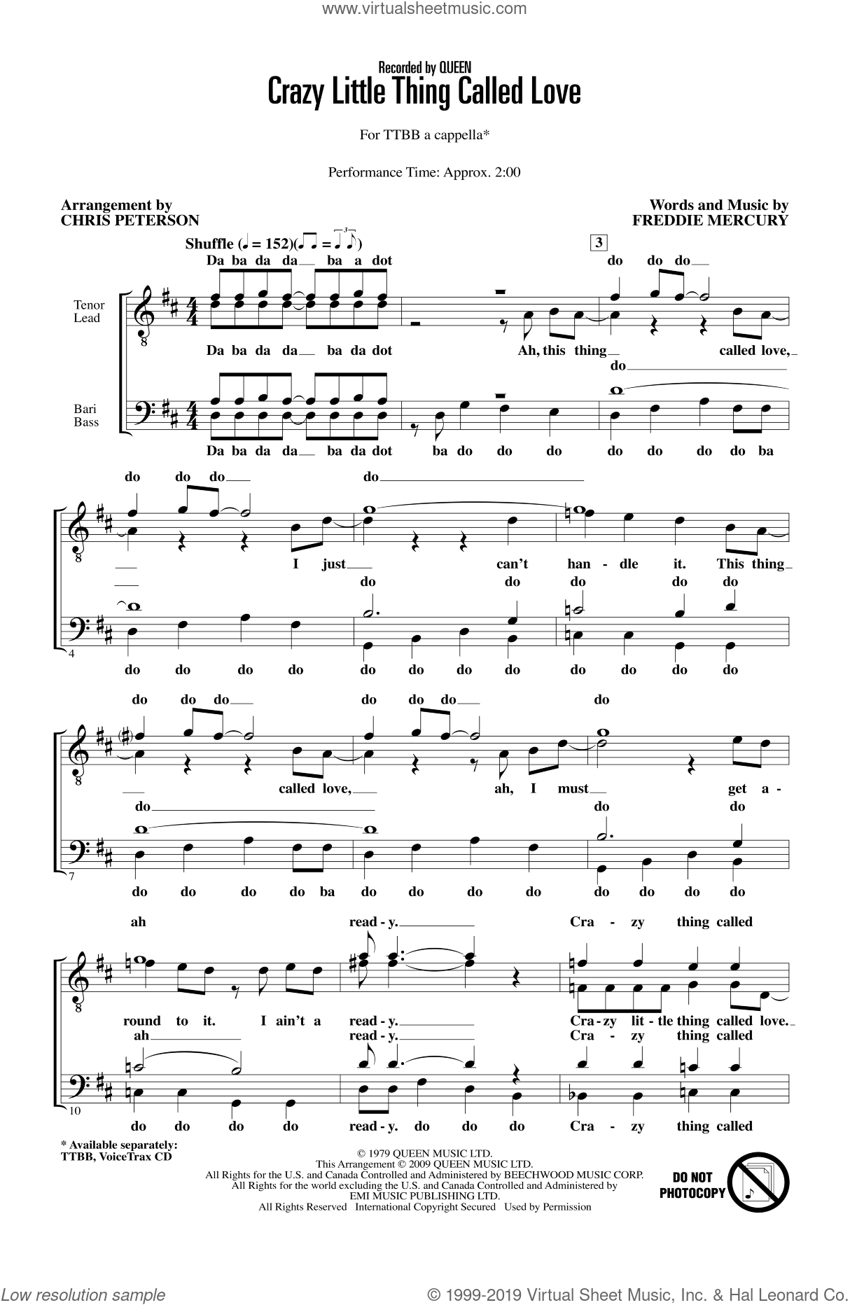 Crazy Little Thing Called Love sheet music for choir and piano (TTBB) by Freddie Mercury