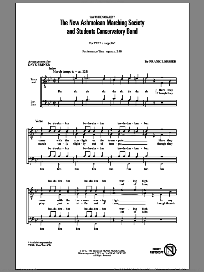 The New Ashmolean Marching Society And Students Conservatory Band sheet music for choir (TTBB: tenor, bass) by Frank Loesser and David Briner, intermediate skill level
