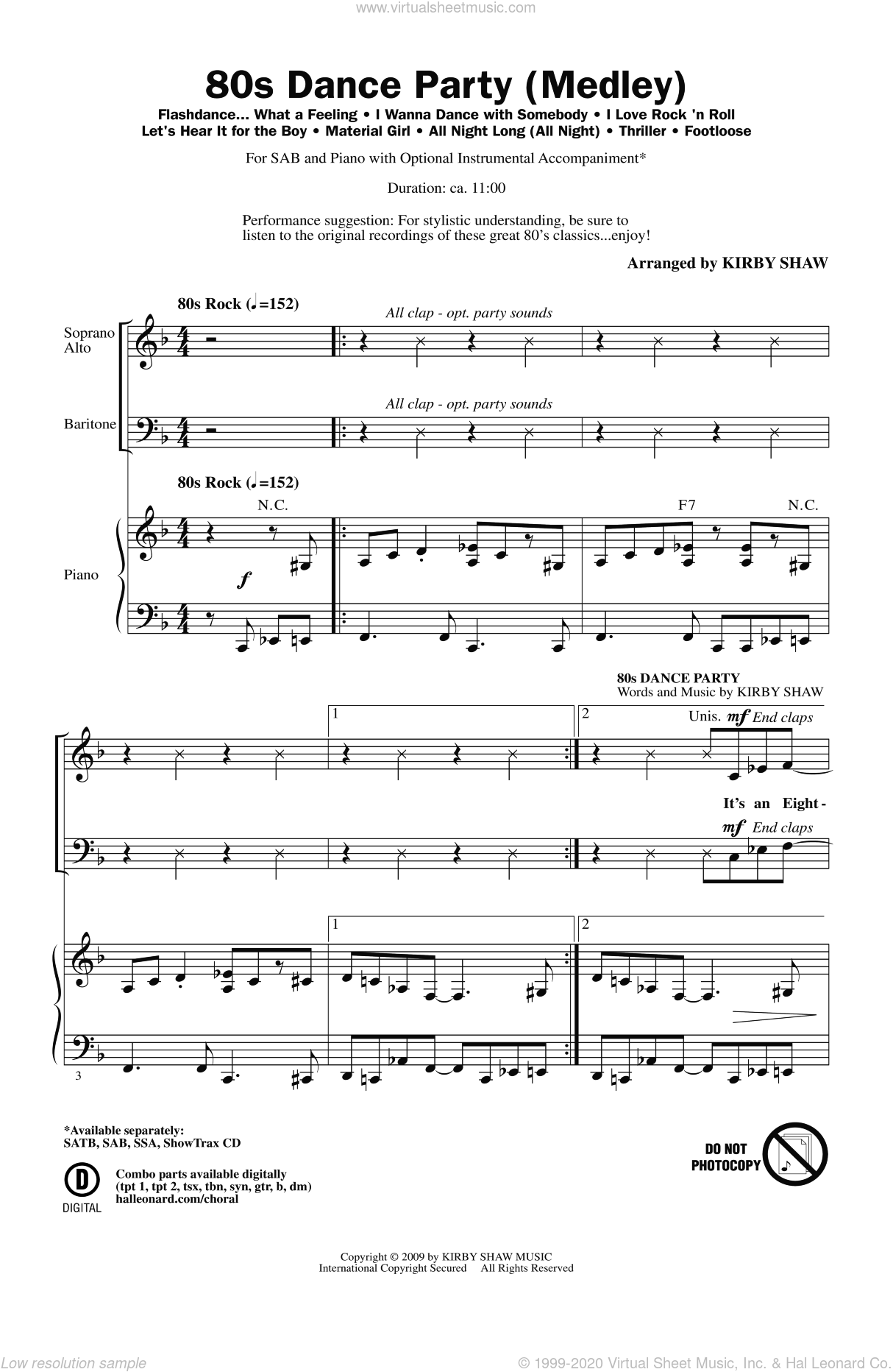80s Dance Party (Medley) sheet music for choir (SAB) by Kirby Shaw, intermediate choir (SAB). Score Image Preview.