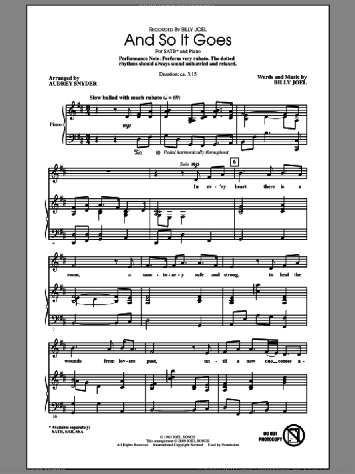 And So It Goes sheet music for choir (SATB) by Billy Joel and Audrey Snyder, intermediate choir (SATB). Score Image Preview.