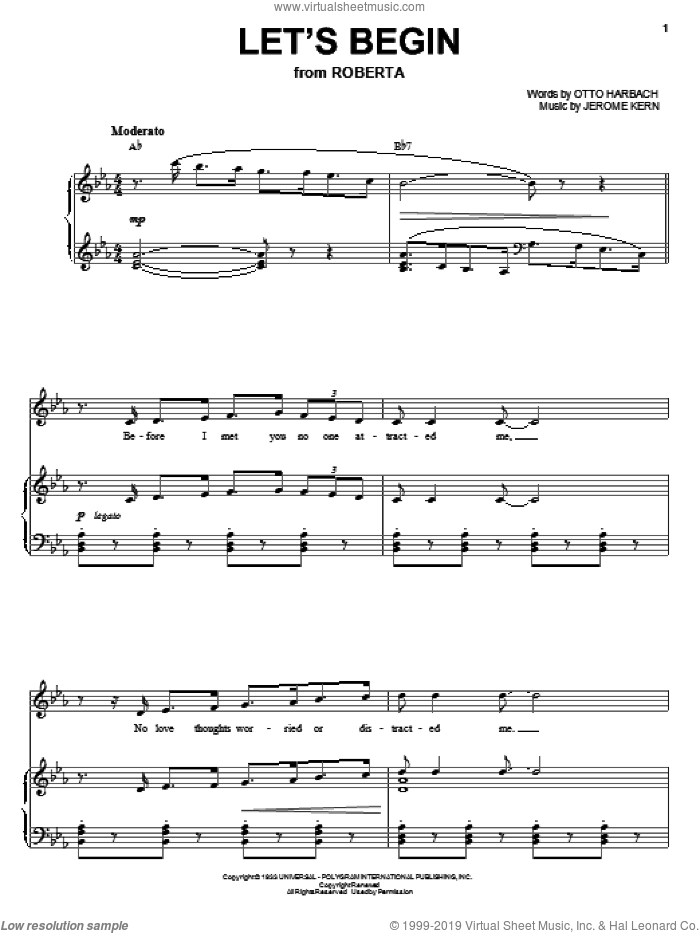 Let's Begin sheet music for voice, piano or guitar by Otto Harbach