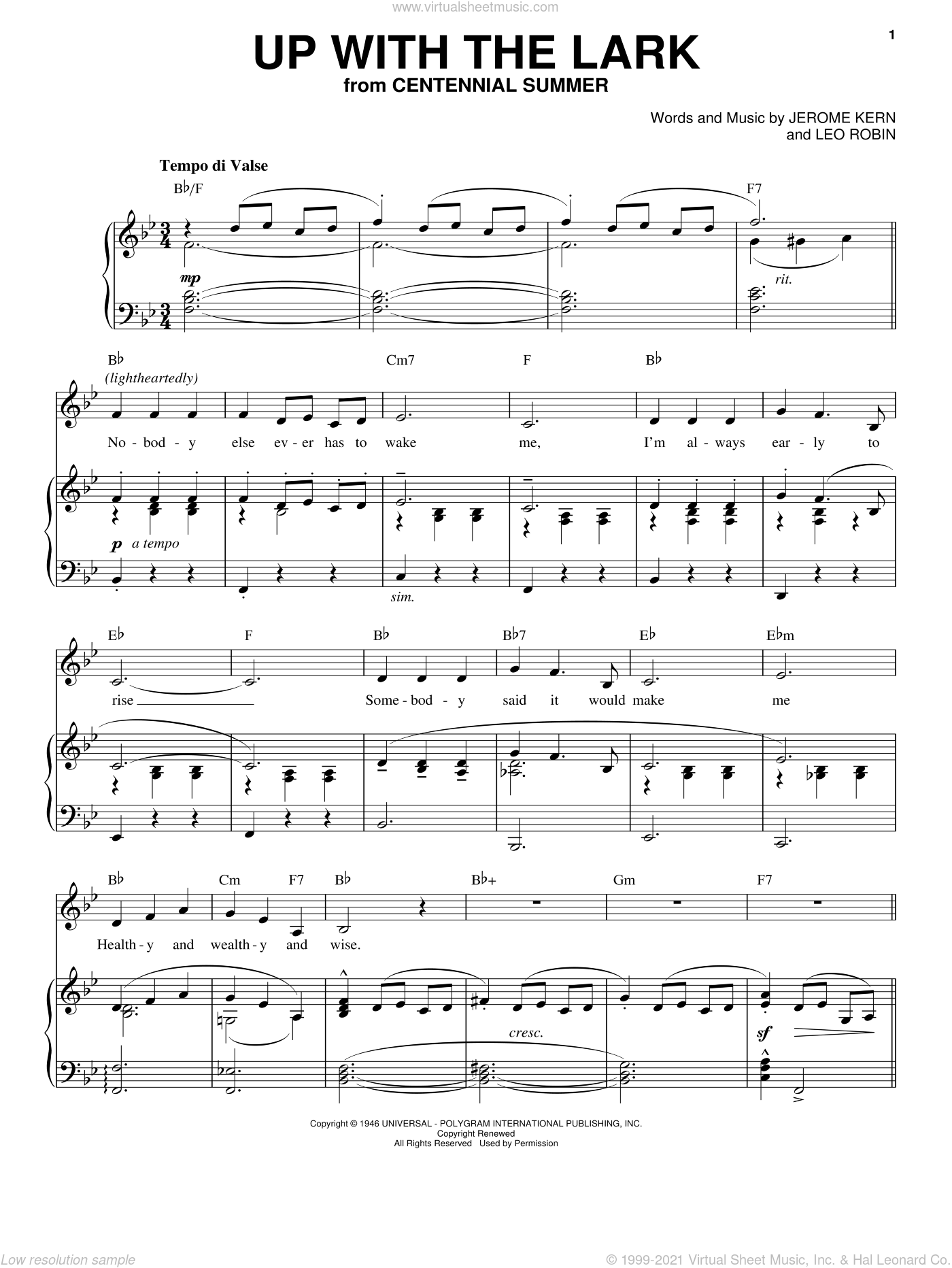 Up With The Lark sheet music for voice, piano or guitar by Leo Robin and Jerome Kern. Score Image Preview.