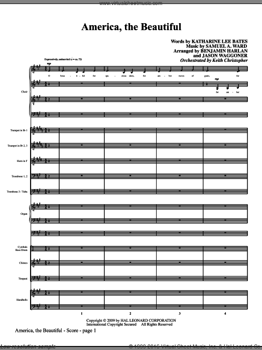 America, The Beautiful sheet music for orchestra/band (full score) by Samuel Augustus Ward