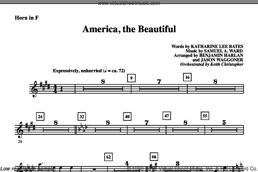 America, The Beautiful sheet music for orchestra/band (f horn) by Samuel A. Ward