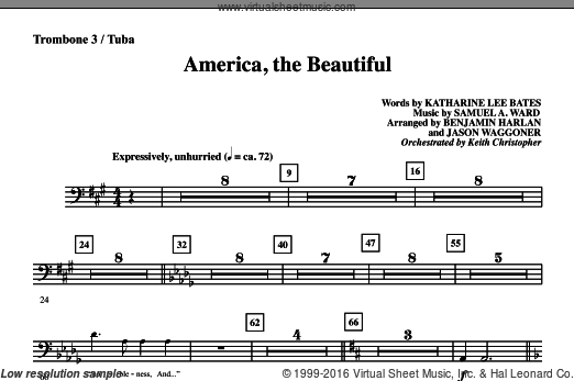 America, The Beautiful sheet music for orchestra/band (trombone 3/tuba) by Samuel A. Ward