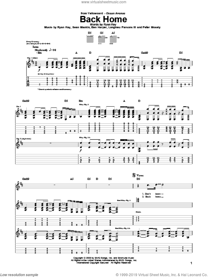 Back Home sheet music for guitar (tablature) by Yellowcard, Ben Harper, Longineu Parsons III, Peter Mosely, Ryan Key and Sean Mackin, intermediate skill level