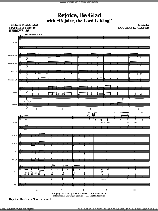 Rejoice, Be Glad! (with Rejoice, The Lord Is King) (COMPLETE) sheet music for orchestra by Douglas E. Wagner