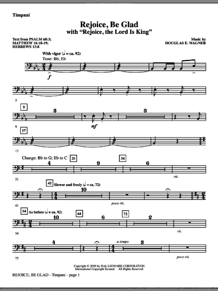 Rejoice, Be Glad! (with Rejoice, The Lord Is King) sheet music for orchestra/band (timpani) by Douglas E. Wagner