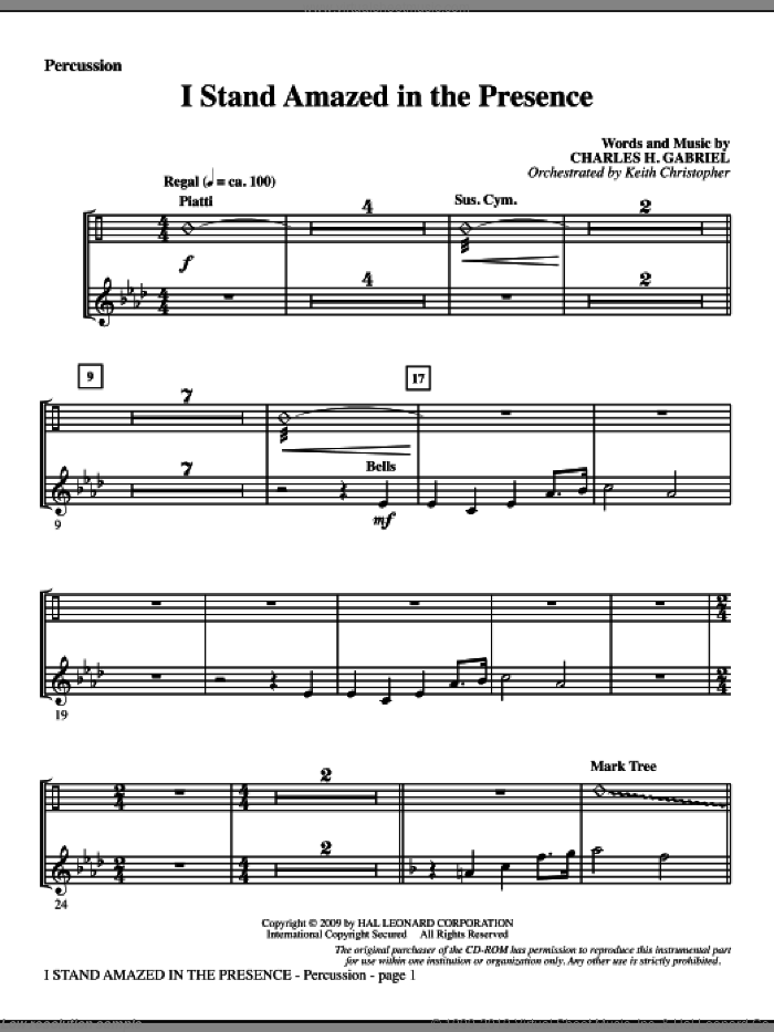 I Stand Amazed In The Presence sheet music for orchestra/band (percussion) by Charles H. Gabriel