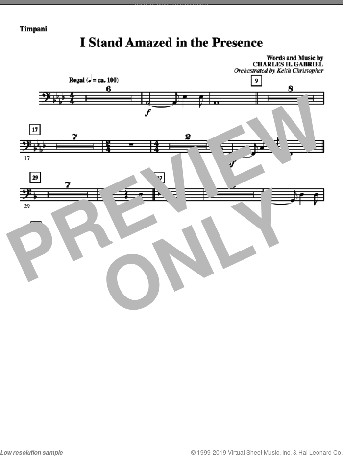 I Stand Amazed In The Presence sheet music for orchestra/band (timpani) by Charles H. Gabriel
