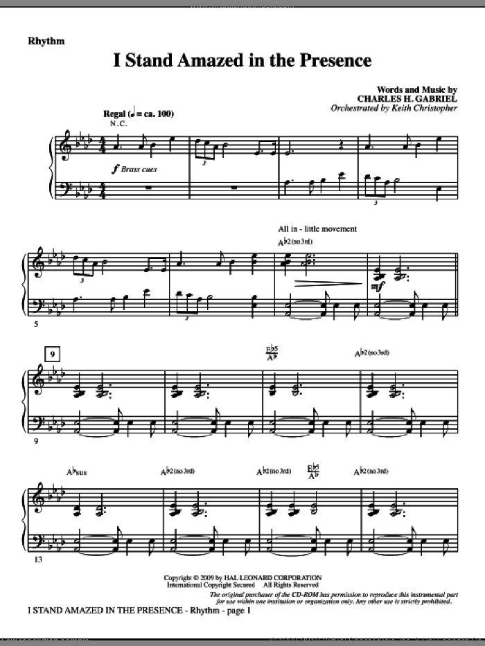 I Stand Amazed In The Presence sheet music for orchestra/band (rhythm) by Charles H. Gabriel