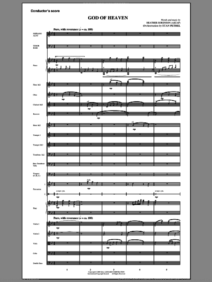 God Of Heaven sheet music for orchestra/band (full score) by Heather Sorenson