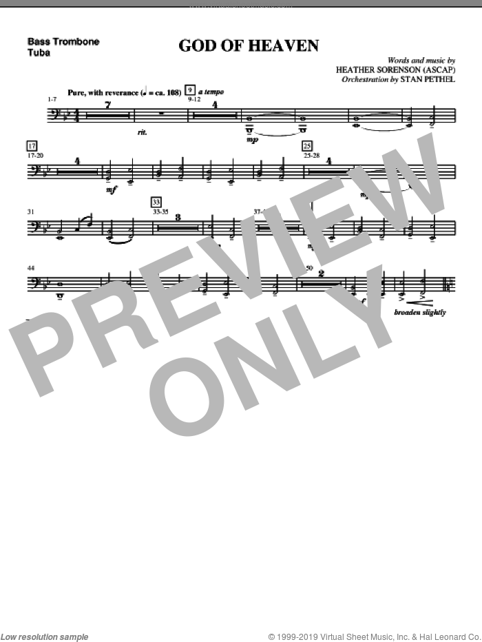 God Of Heaven sheet music for orchestra/band (bass trombone/tuba) by Heather Sorenson