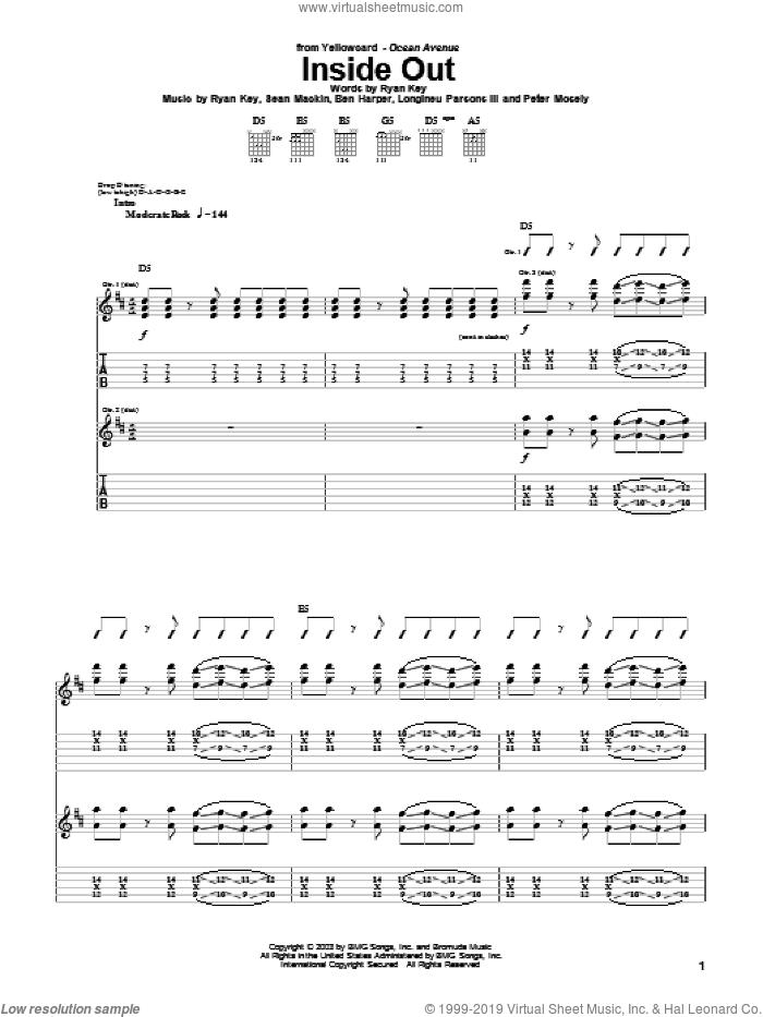 Inside Out sheet music for guitar (tablature) by Yellowcard, Ben Harper, Longineu Parsons III, Peter Mosely, Ryan Key and Sean Mackin, intermediate skill level