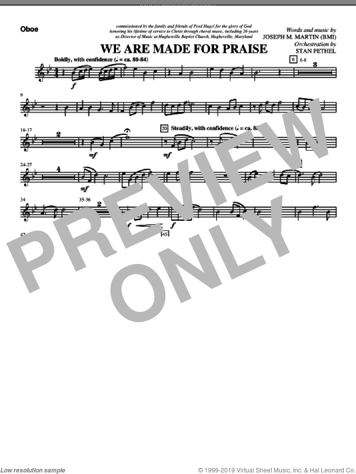 We Are Made For Praise sheet music for orchestra/band (oboe) by Joseph M. Martin