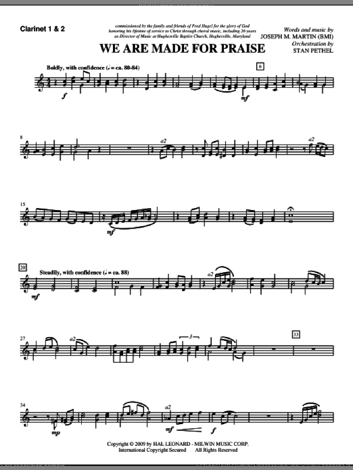 We Are Made For Praise sheet music for orchestra/band (Bb clarinet 1,2) by Joseph M. Martin