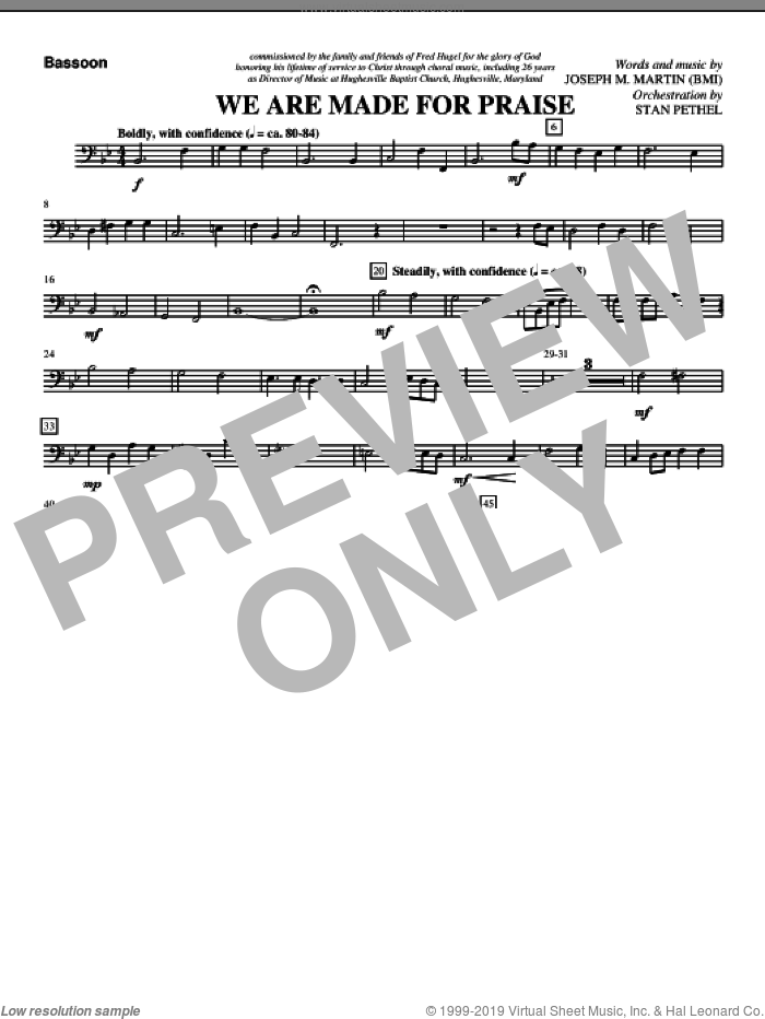 We Are Made For Praise sheet music for orchestra/band (bassoon) by Joseph M. Martin