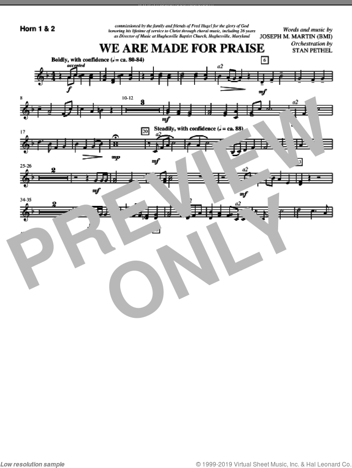 We Are Made For Praise sheet music for orchestra/band (f horn 1,2) by Joseph M. Martin