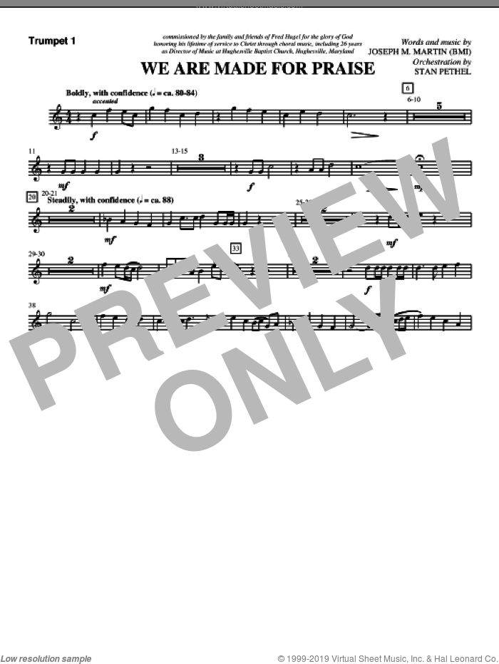 We Are Made For Praise sheet music for orchestra/band (Bb trumpet 1) by Joseph M. Martin