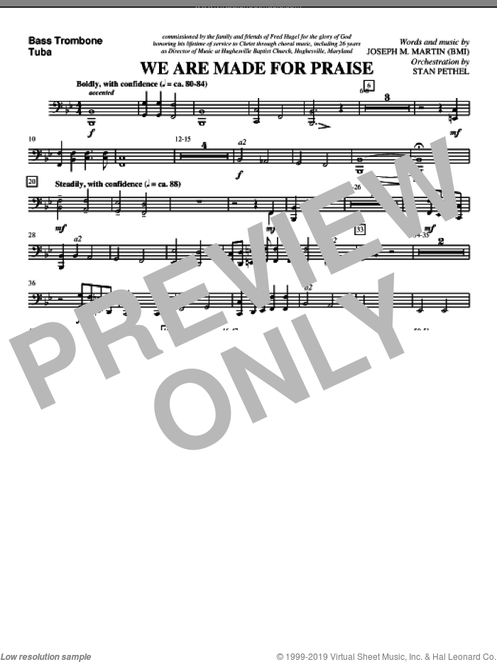 We Are Made For Praise sheet music for orchestra/band (bass trombone/tuba) by Joseph M. Martin