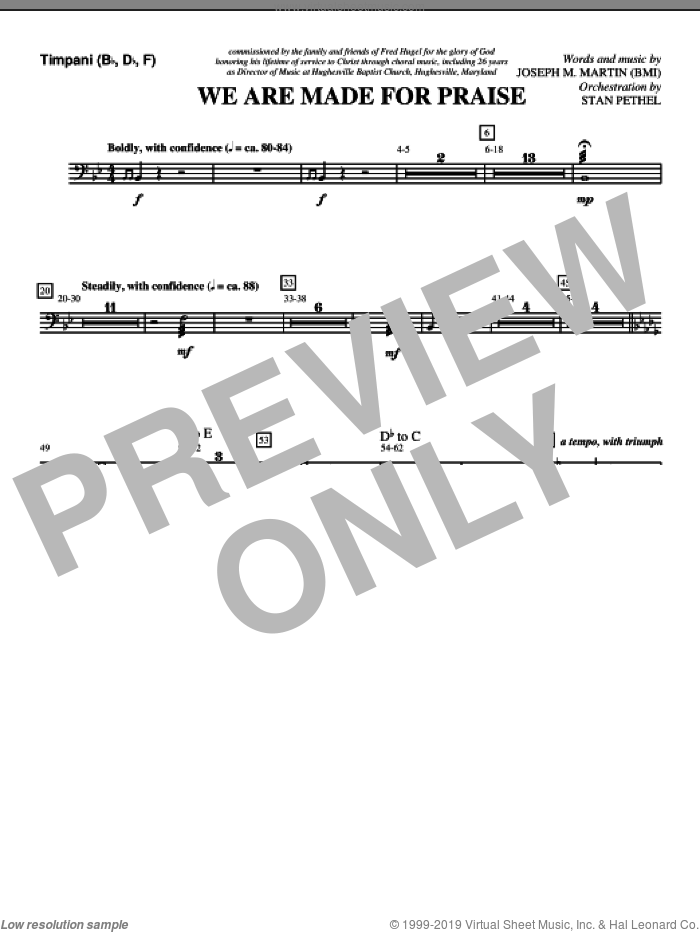 We Are Made For Praise sheet music for orchestra/band (timpani) by Joseph M. Martin