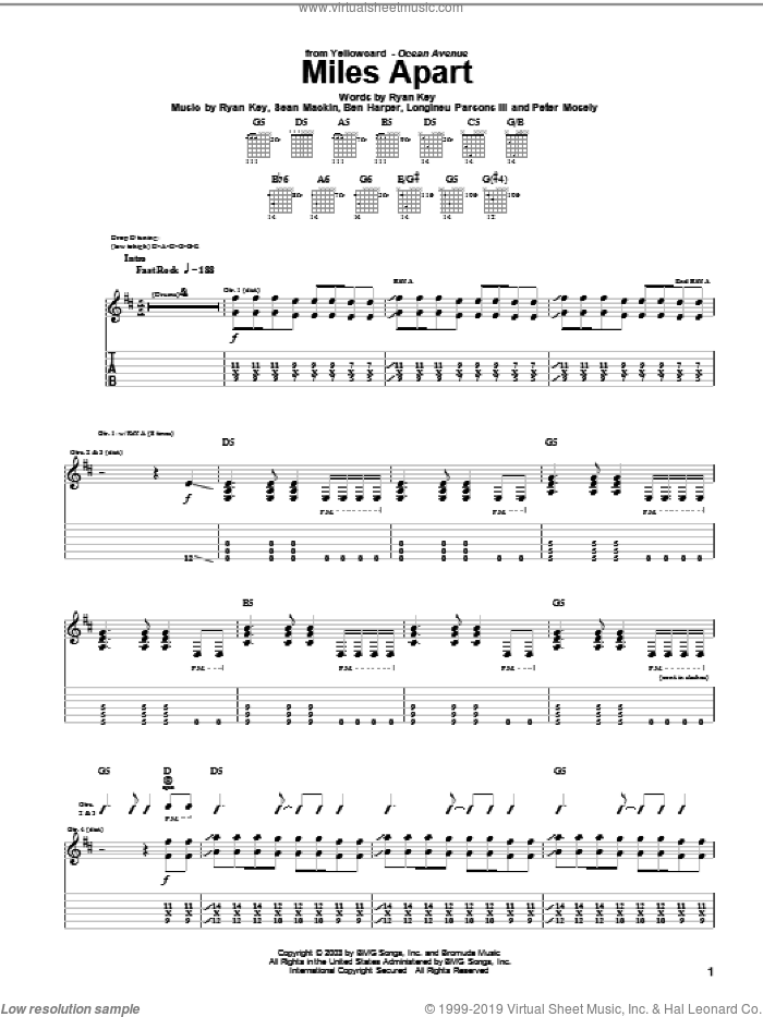 Miles Apart sheet music for guitar (tablature) by Sean Mackin, Ben Harper and Ryan Key. Score Image Preview.