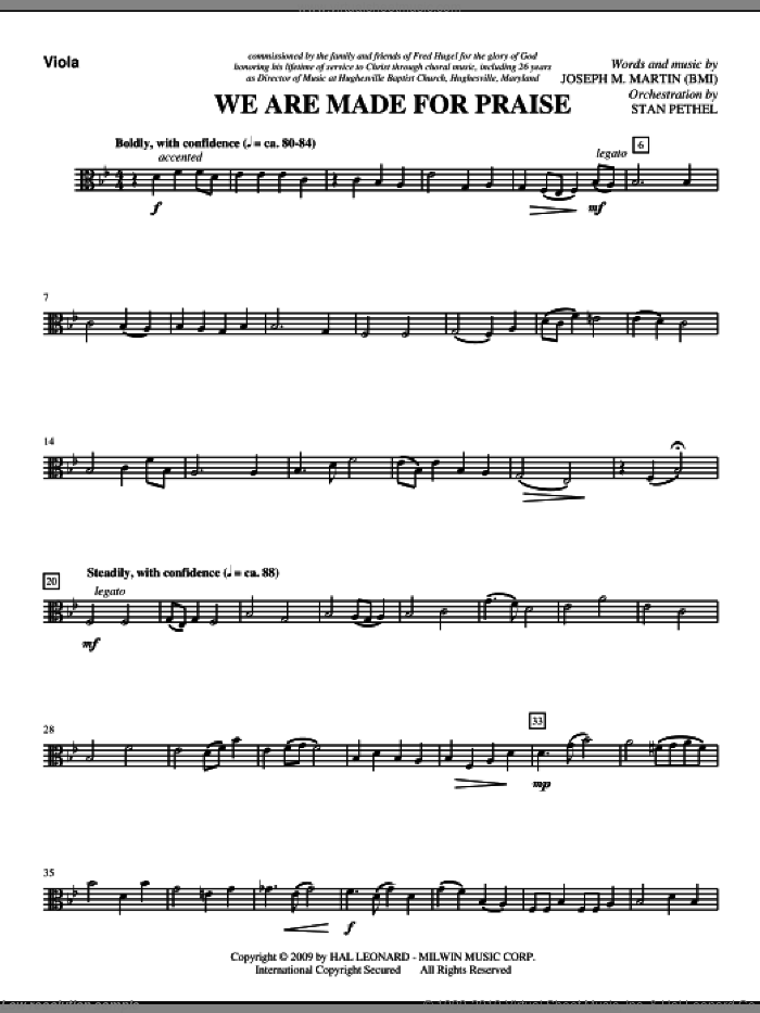 We Are Made For Praise sheet music for orchestra/band (viola) by Joseph M. Martin