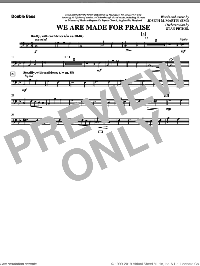 We Are Made For Praise sheet music for orchestra/band (double bass) by Joseph M. Martin