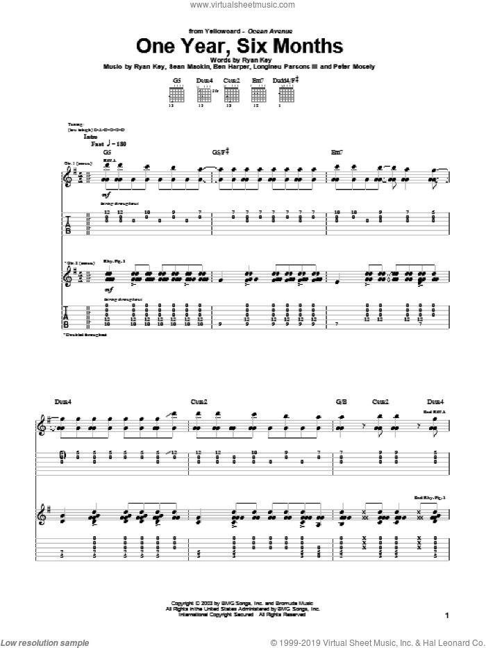 One Year, Six Months sheet music for guitar (tablature) by Yellowcard, Ben Harper, Longineu Parsons III, Peter Mosely, Ryan Key and Sean Mackin, intermediate skill level