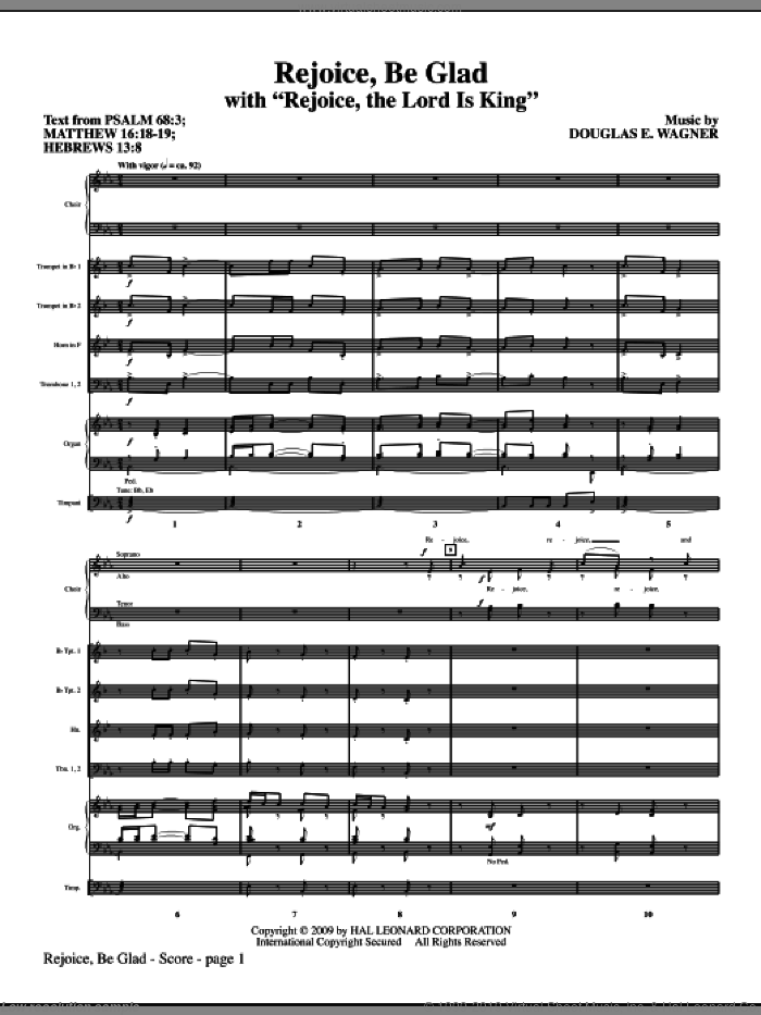 Rejoice, Be Glad! (with Rejoice, The Lord Is King) (COMPLETE) sheet music for orchestra/band (Special) by Douglas E. Wagner, intermediate. Score Image Preview.