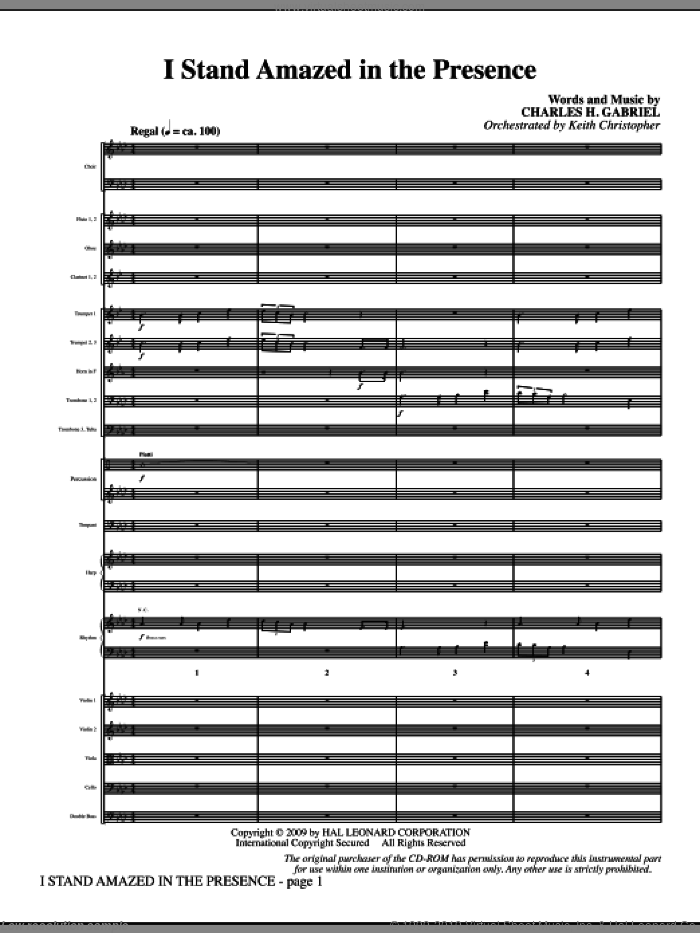 I Stand Amazed In The Presence (COMPLETE) sheet music for orchestra/band (Orchestra) by Charles H. Gabriel and Keith Christopher, intermediate skill level