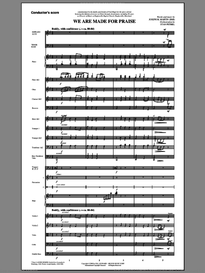 We Are Made For Praise (COMPLETE) sheet music for orchestra/band (Orchestra) by Joseph M. Martin and Stan Pethel, intermediate skill level