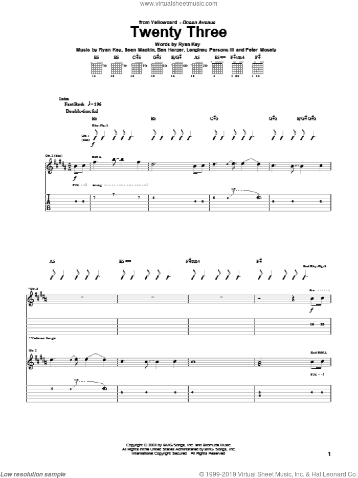 Twenty Three sheet music for guitar (tablature) by Yellowcard and Ben Harper, intermediate. Score Image Preview.