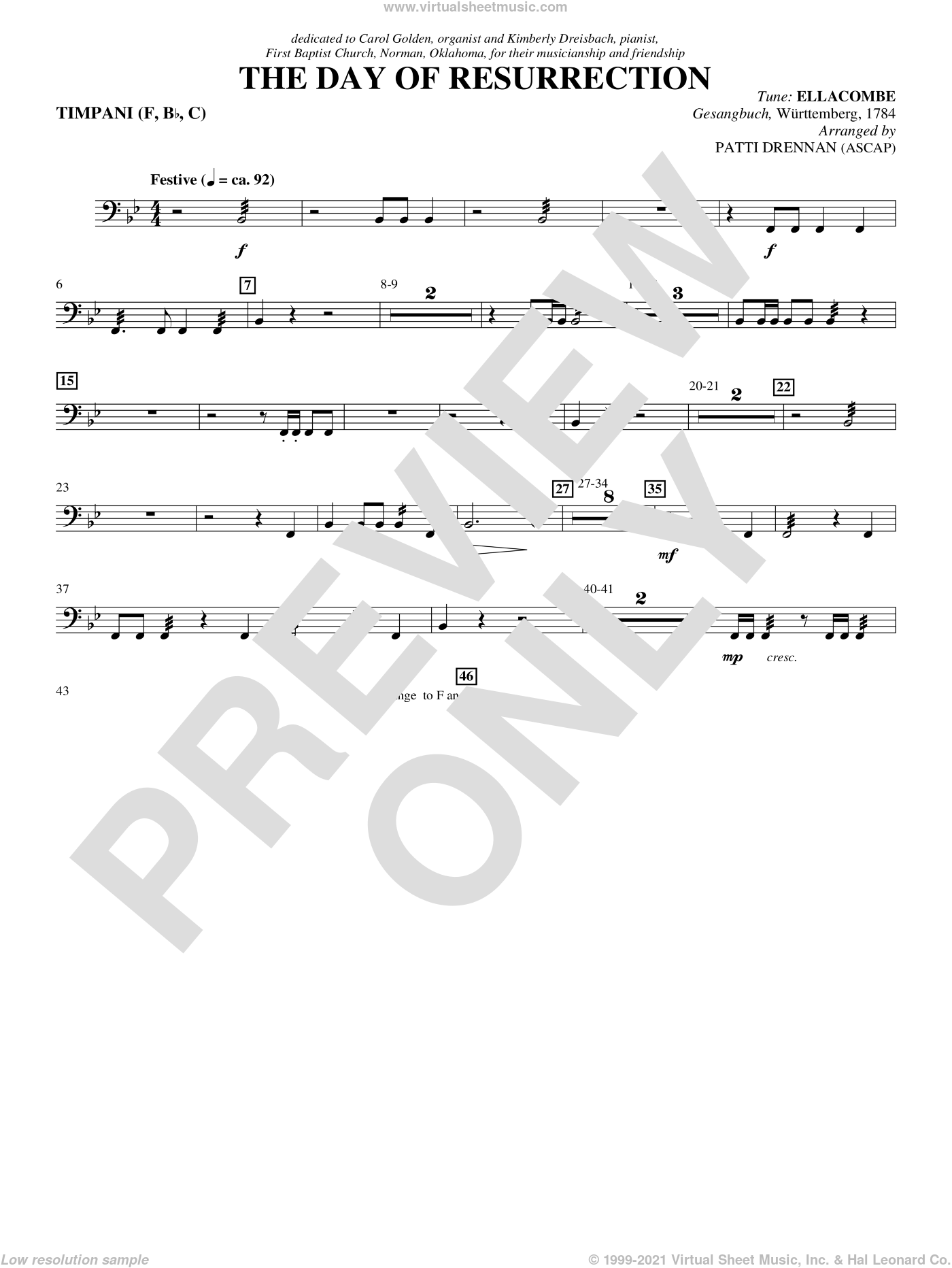The Day Of Resurrection sheet music for orchestra/band (timpani) by Patti Drennan