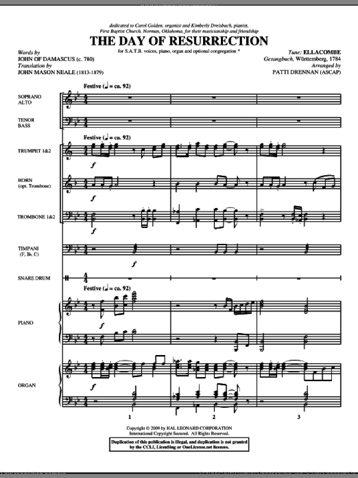 The Day Of Resurrection (COMPLETE) sheet music for orchestra/band (Brass) by Patti Drennan, intermediate. Score Image Preview.
