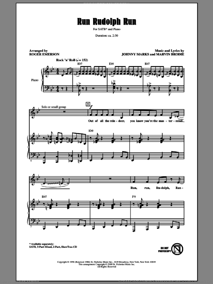 Run Rudolph Run sheet music for choir (SATB: soprano, alto, tenor, bass) by Johnny Marks, Marvin Brodie, Chuck Berry and Roger Emerson, intermediate skill level
