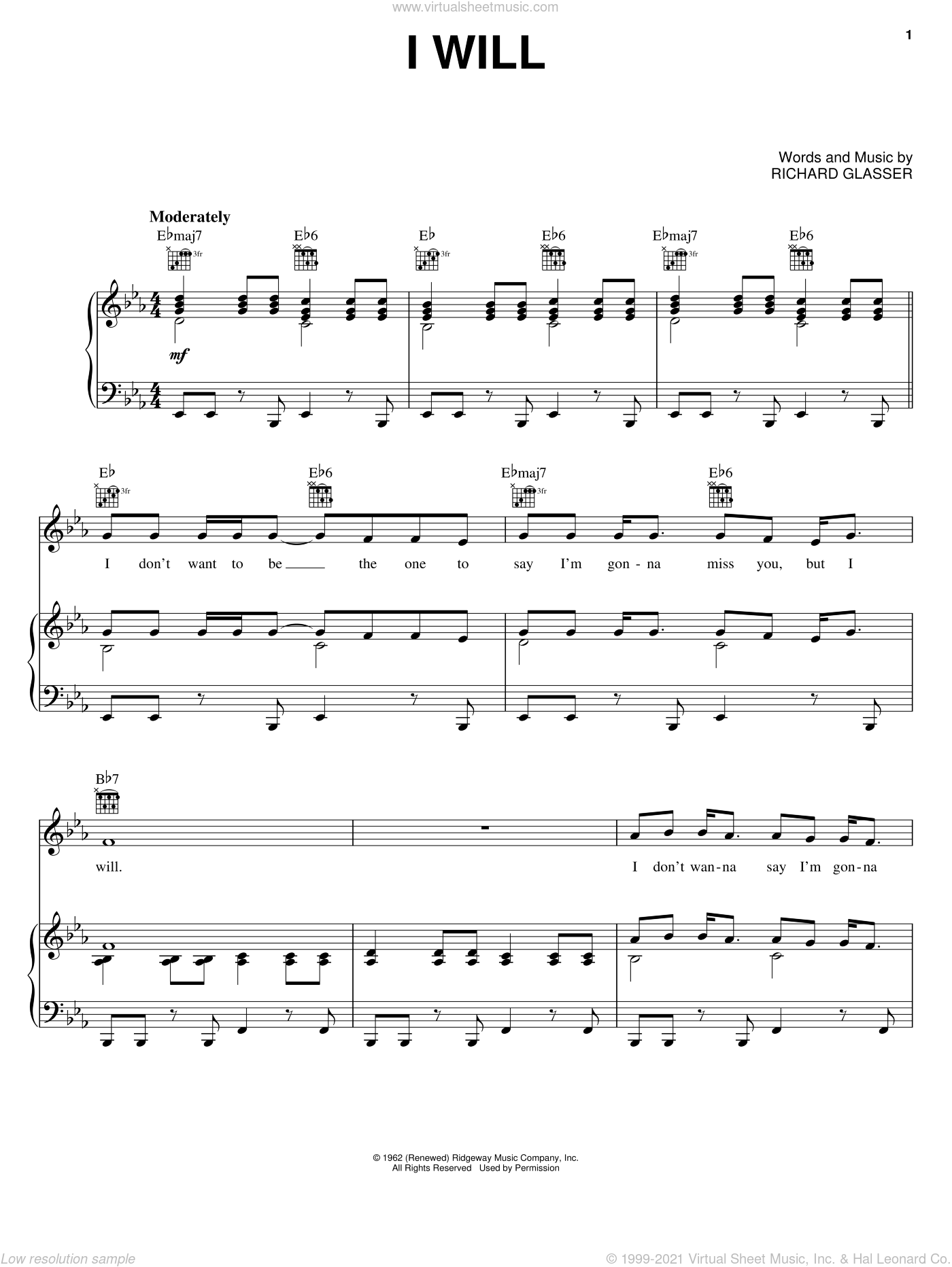I Will sheet music for voice, piano or guitar by Dean Martin and Richard Glasser, intermediate skill level