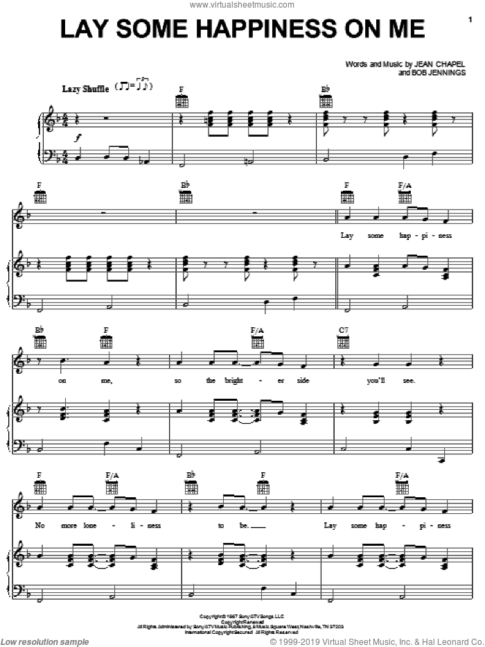Lay Some Happiness On Me sheet music for voice, piano or guitar by Dean Martin, Eddy Arnold, Nancy Sinatra, Bob Jennings and Jean Chapel, intermediate. Score Image Preview.