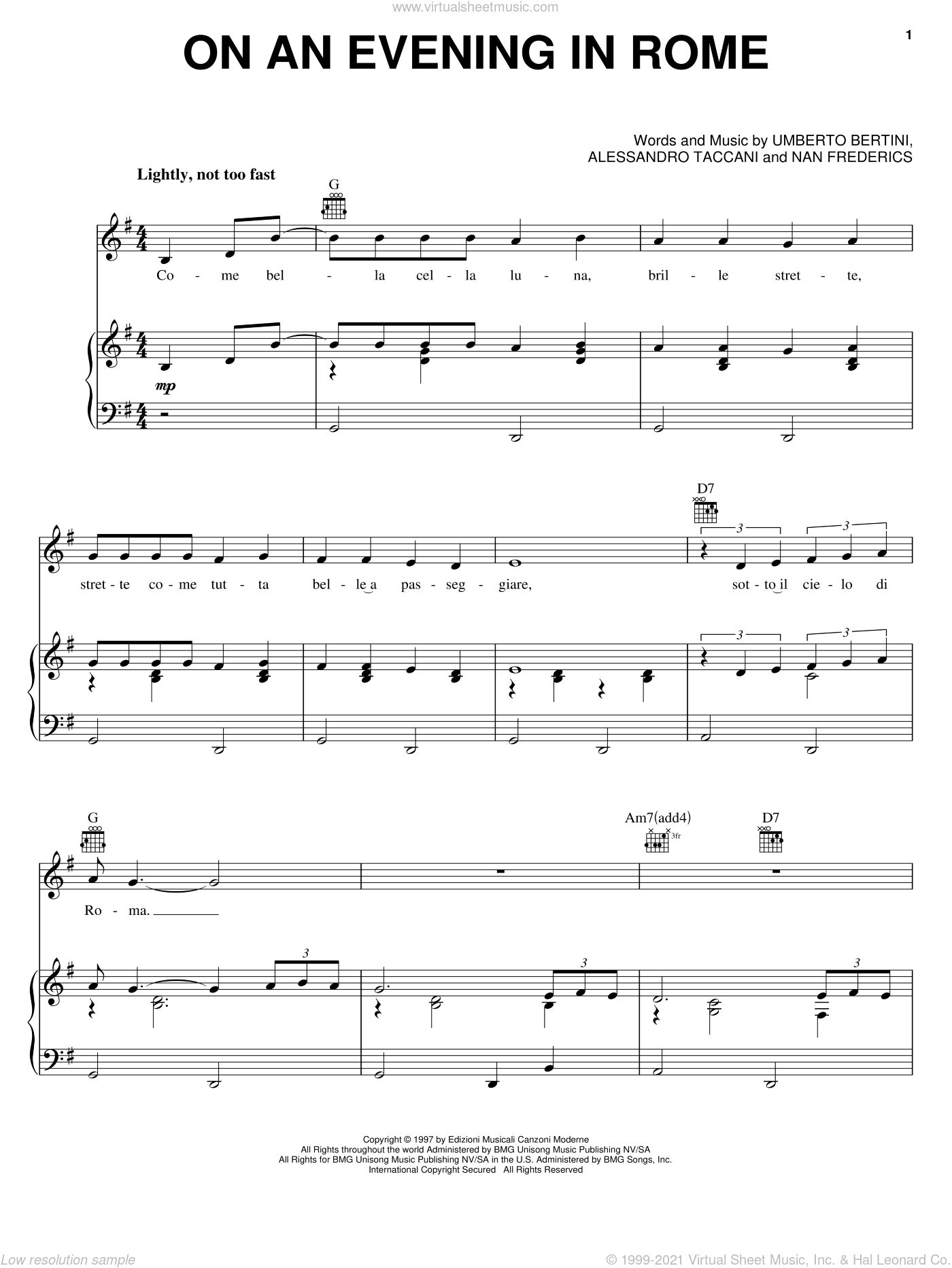 On An Evening In Rome sheet music for voice, piano or guitar by Umberto Bertini and Dean Martin. Score Image Preview.