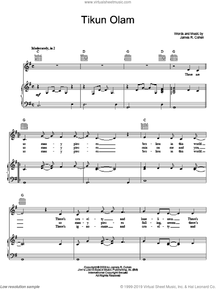 Tikun Olam sheet music for voice, piano or guitar by James R. Cohen. Score Image Preview.