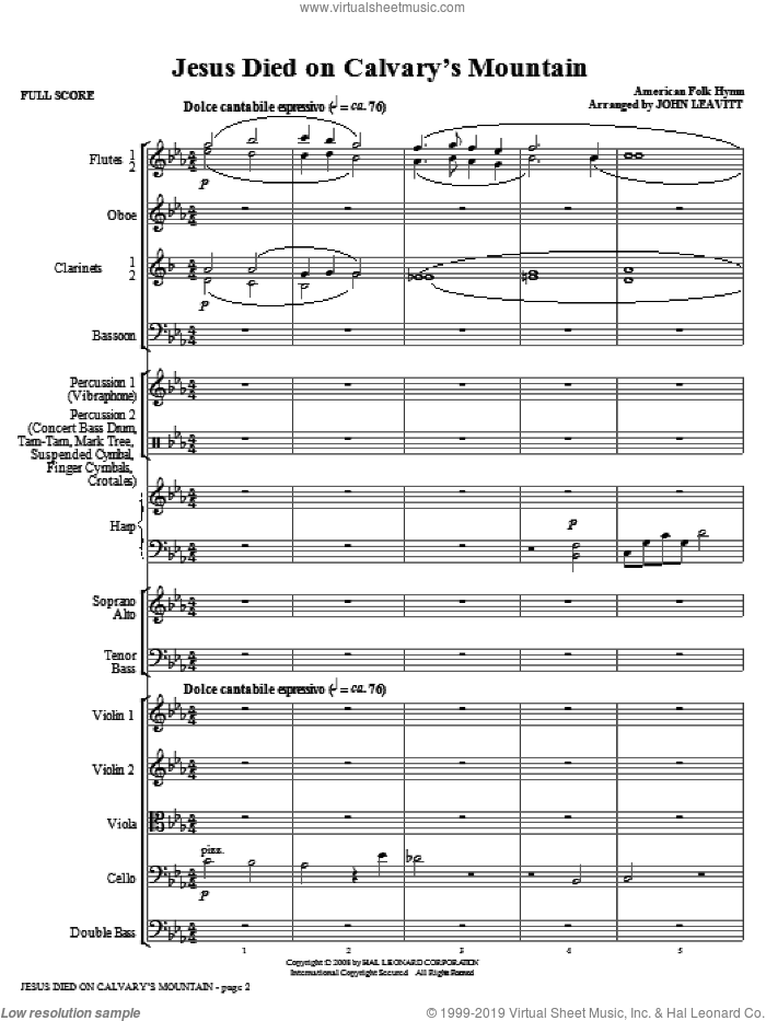 Jesus Died On Calvary's Mountain (COMPLETE) sheet music for orchestra/band (Orchestra) by John Leavitt and Miscellaneous, intermediate skill level