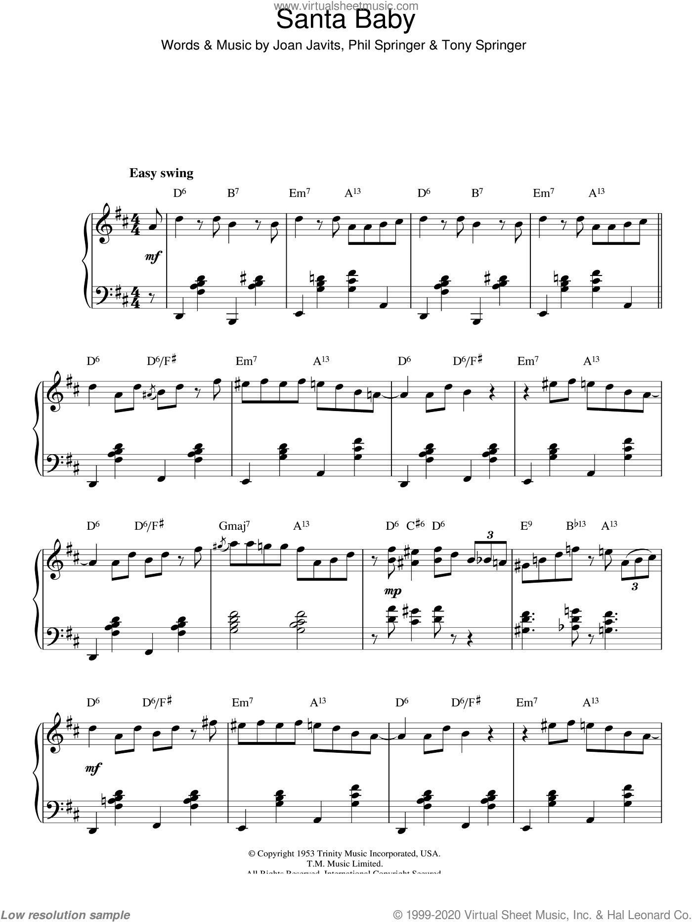Santa Baby sheet music for piano solo by Tony Springer