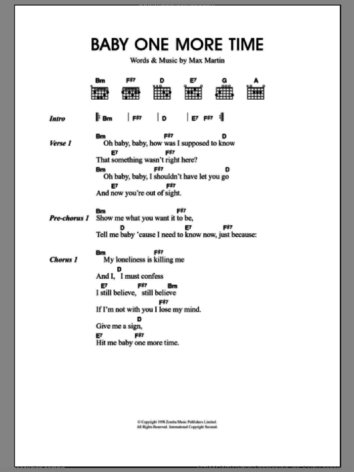 ...Baby One More Time sheet music for guitar (chords) by Max Martin, Britney Spears and Merle Travis. Score Image Preview.